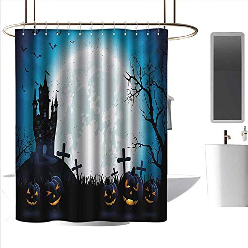 homehot Shower Curtains for Bathroom Music Halloween,Spooky Concept with Scary Icons Old Celtic Harvest Figures in Dark Image Holiday Print,Blue,W36 x L72,Shower Curtain for Kids
