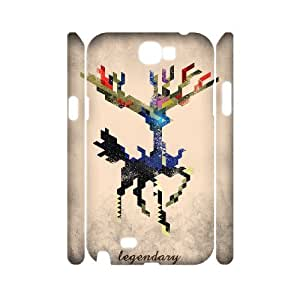 3D {Arts Series} Samsung Galaxy Note 2 Cases i Am Legendary X Geometric, Case Doah - White