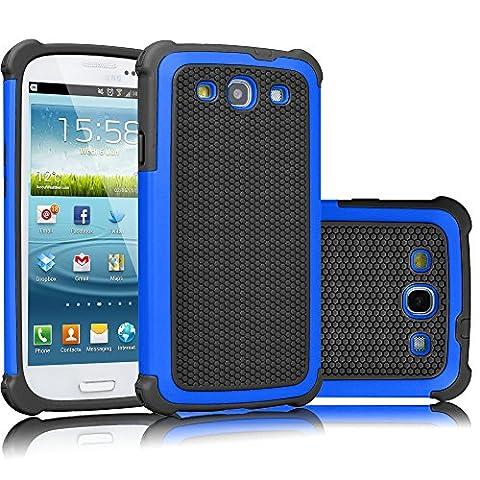 Galaxy S3 Case, Tekcoo(TM) [Tmajor Series] [Blue/Black] Shock Absorbing Hybrid Rubber Plastic Impact Defender Rugged Slim Hard Case Cover Shell For Samsung Galaxy S3 S III I9300 GS3 All (Galaxy S3 Straight Talk New)