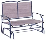 Rocking Loveseats, Gliders Style for Two Person with Rattan Wicker Sturdy Steel Frame,Brown