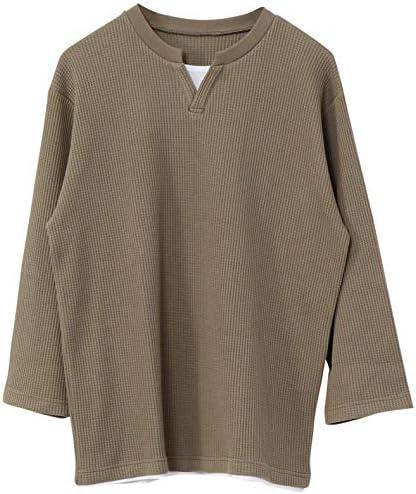 ワッフルレイヤードキーネック7分袖Tシャツ 75206030051