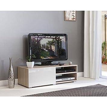 LIME Meuble TV 96cm col Chene et blanc laqué Amazon Cuisine