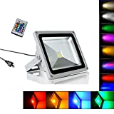 10W Waterproof LED Flood Light RGB with 24Key IR Remote and US 3-Plug, IP65 Waterproof 16 Colors 4 Modes Dimmable Wall Washer Light