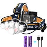 Rechargeable LED Headlamp, HFAN Super Bright 8 Modes 6000 Lumens Adjustable Waterproof 8 LED Head Lamp for Camping, Riding, Running, Night Walking, Fishing, Hunting,Reading,Car Repairing,DIY Works