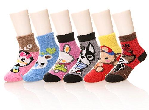 Eocom Kid Super Warm Fuzzy Soft Socks Toddler Cartoon Printed Socks 4-6 Pairs (3-5 Years, 6 Pairs Animal)