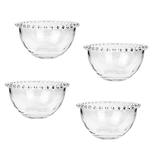 Set of 4 Bella Perle Glass Snack Bowls with Beaded Edge - Width 13