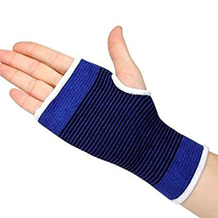 Amazing Mall Palm Support Elastic Palm Wrist Glove Hand Grip Support Protector Brace Sleeve Support (Free Size, Blue) 2 Pic Set
