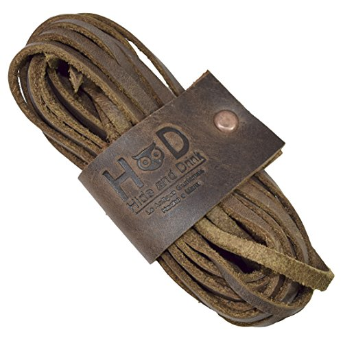Hide & Drink Durable Thick Leather Laces For Work Boots & Dress Shoes Handmade Bourbon Brown