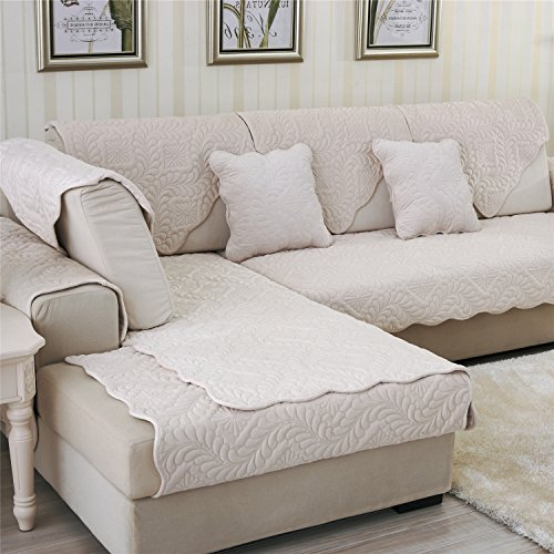 OstepDecor Soft Petris Quilted Sectional Armrest & Backrest Covers for Sofa, Loveseat | Dingy White 2pcs-28'' x 28'' by OstepDecor