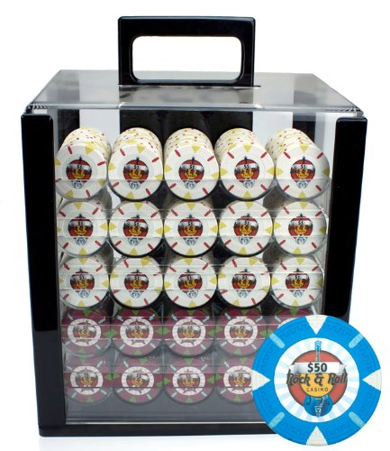 Claysmith Gaming 1000-Count 'Rock & Roll' Poker Chip Set in Acrylic case, 13.5gm by Claysmith Gaming