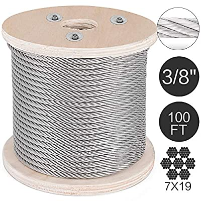 Mophorn 304 Stainless Steel Cable 3/8 Inch 7 X 19 Steel Wire Rope Steel Cable for Railing Decking DIY Balustrade