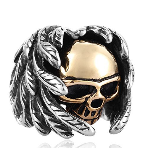 age Gothic Stainless Steel Rings Silver Black Wings Skull Tribal Biker Rings Size 8 ()