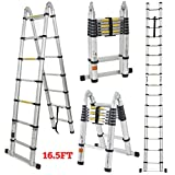 GHP Home/Business Aluminum Alloy 16.5Ft. Telescopic Ladder Upto 200''Hx26.5''L
