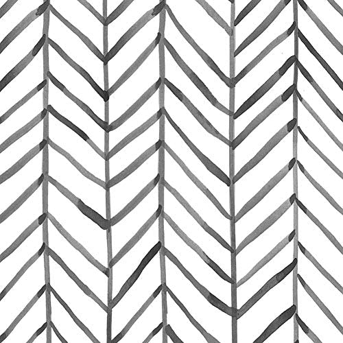 HaokHome 96020-1 Modern Stripe Peel and Stick Wallpaper Herringbone Black White Vinyl Self Adhesive Decorative 17.7in x 9.8ft