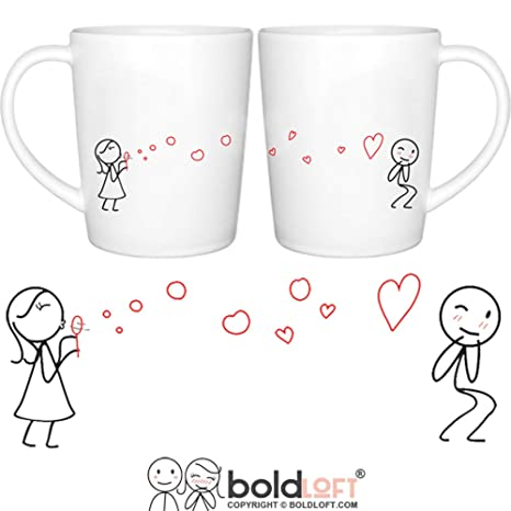 BOLDLOFT From My Heart To Yours Too Couple Coffee Mugs Matching Set