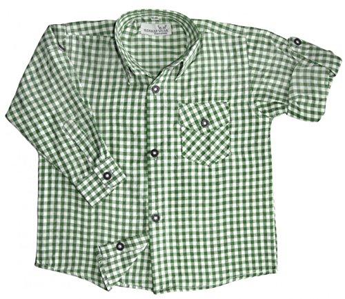Kinder Trachtenhemd für Trachtenlederhosen Oktoberfest Trachtenmode grün/karo, Größe:164/170