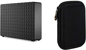 Seagate Expansion Desktop 8TB External Hard Drive HDD – USB 3.0 for PC Laptop and Mac (STEB8000100) & AmazonBasics External Hard Drive Portable Carrying Case