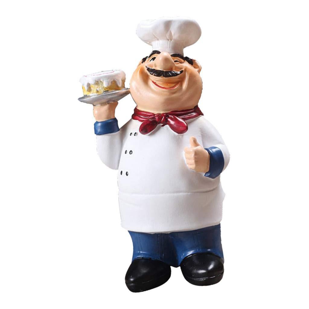 Cake Home Kitchen Bar Restaurant Decor Ornament Figure Statue Chef Statue