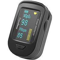Pulsoximeter CocoBear Oximeter Blut Sauerstoffsättigung Überwachung mit 360 Rotierende OLED Anzeige Tragbares Finger Oximeter schnell ablesbar (schwarz)