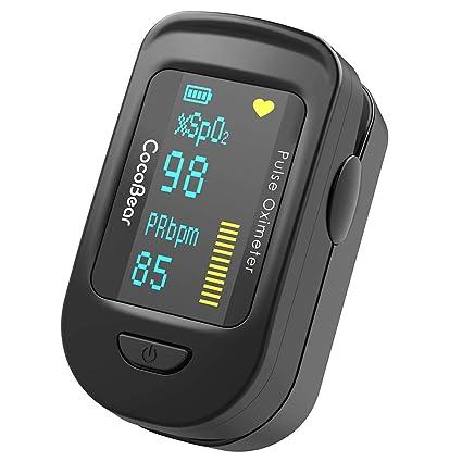 Oxímetro de Pulso, CocoBear Pulsioxímetro con Pantalla OLED, Oxímetro con función de alarma, Aaprobado por la FDA y la CE,Oxímetro de dedo para medir ...