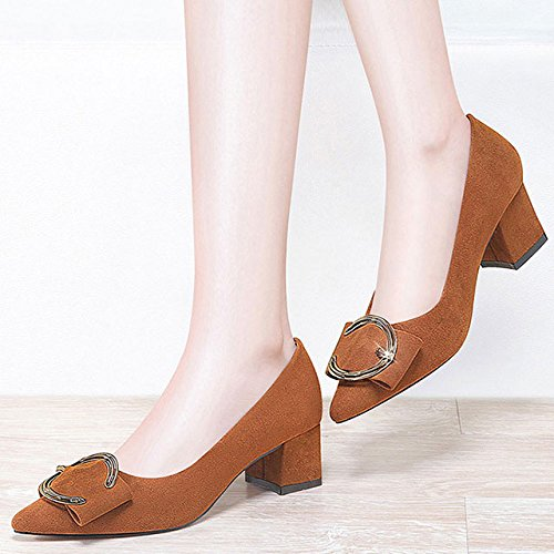 Mme Latérale Talon Chaussures à Talons Chaussures Pointues Élégant Et Élégant Loisirs Quotidiens Brown Q7Uzv