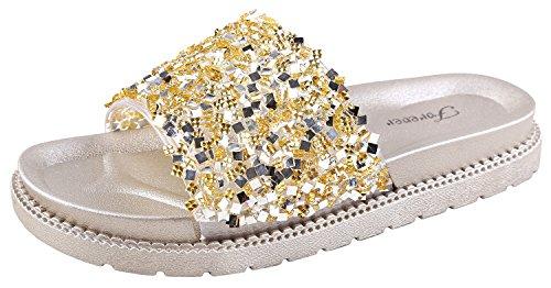 Forever Link Glitter Slide in PVC Molded Footbed Flatform Sandal Slippers Gold 18 5 B(M) US (Pvc Slippers)
