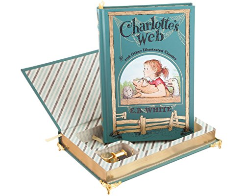 Real Hollow Book Music Box - Charlotte's Web by E.B. White (Leather-bound) (Magnetic Closure)