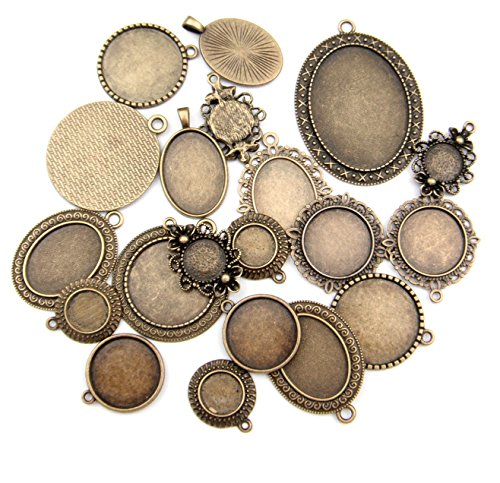 ALL in ONE 20pcs Mixed Cabochon Frame Setting Tray Pendant for DIY Jewelry Making (ANTIQUE BRONZE) ()