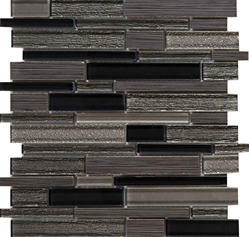 Mesh Mounted Glass Mosaics - MS International SGLSIL-METGRI8MM Metro Gris Interlocking Glass Stone Mesh-Mounted Mosaic Tile x 12 in. x 8 mm, (10 sq. ft./case) Black