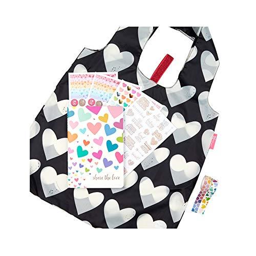 Erin Condren Love Bundle: Share The Love PetitePlanner, Heart to Heart Reusable Bag, Sparkle Heart & Hexagon Paper Tape, Love Out Loud Sticker Sheet