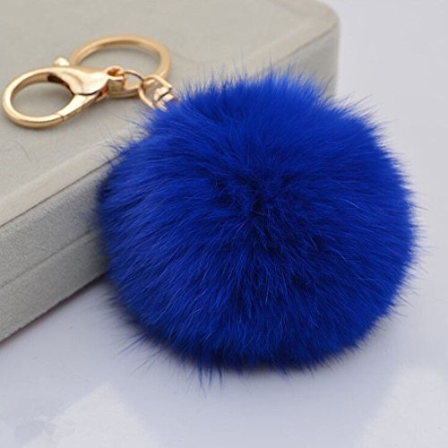 Ethical Fur Products - Buy 1 Get 1 Rabbit Fur Ball Pom Pom Key Chain Gold Plated Keychain with Plush for Car Key Ring or Handbag Bag Decoration US Seller !! (Blue)