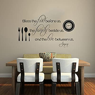 Religious Kitchen Quotes Words Christian Vinyl Wall Decal Restaurant Mural Lettering Decor Saying Bless the Food before Us the Family Beside Us the Love Between Us