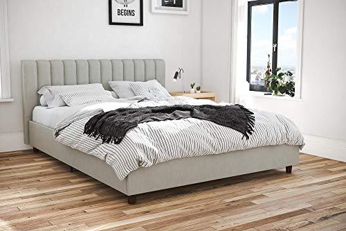 - Novogratz Brittany Upholstered Platform Bed Frame, Grey Linen, Full