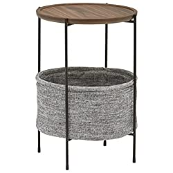 Rivet Round Storage Basket Side Table - Meeks, Walnut and Grey Fabric