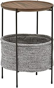 """Amazon Brand – Rivet Meeks Round Side Table with Fabric Storage Basket, 24""""H, Walnut and"""
