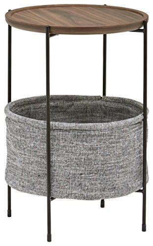 Rivet Round Storage Basket Side Table - Meeks, Walnut and Grey Fabric