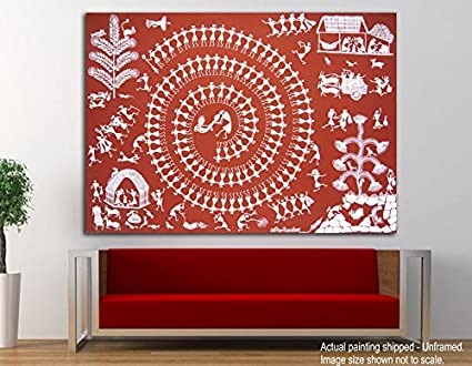 Nice Tamatina Canvas Paintings   The Warli Art   Tribal Art   Paintings For Home  Décor