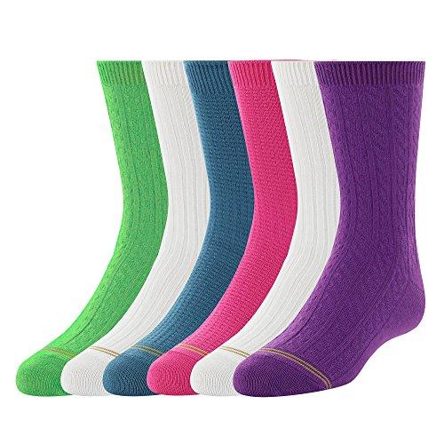 Gold Toe Big Girls  6 Pack Texture Crew Sock