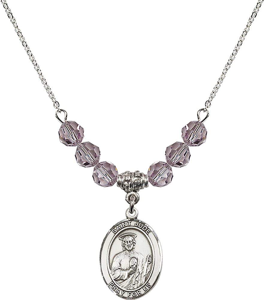18-Inch Rhodium Plated Necklace with 6mm Light Amethyst Birthstone Beads and Sterling Silver Saint Jude Thaddeus Charm.
