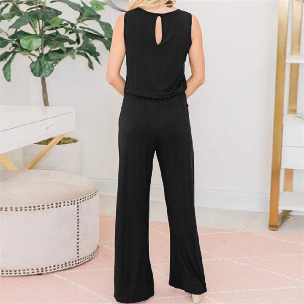 pengchengxinmiao-Clearance Womens Summer Loose Long Jumpsuit Ladies Strappy Playsuit Pocket Party Beach Casual Rompers
