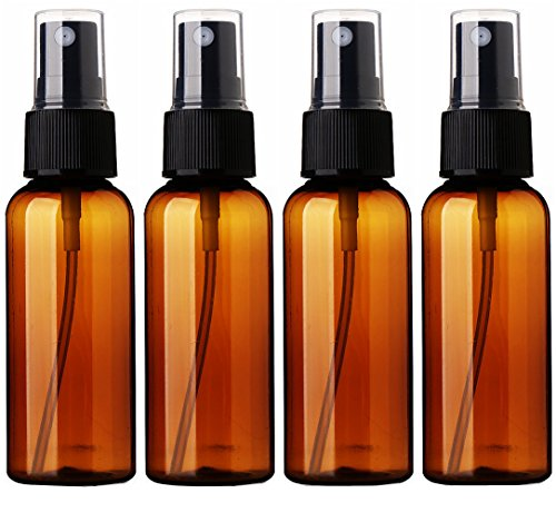 Empty Plastic Fine Mist Spray Bottle 50ML(Less Than 2oz.) Sinide Pump Refillable Cosmetic Perfume Atomizer Perfect for Essential Oils (Pack of 4) (Amber) - Hydrosol 2 Oz Bottle