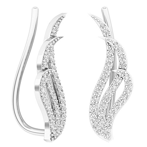 0.40 Carat (ctw) Sterling Silver Round Cut Cubic Zirconia Ladies Crawler Climber Earrings