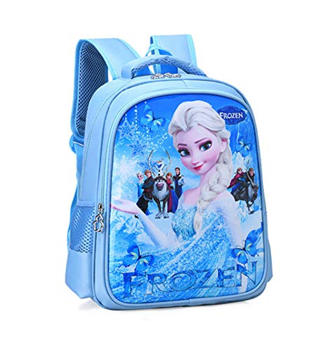 BIGMENG Blue Frozen Elsa School Backpack Bag for Girls Disney Cartoon Student Bookbag for Toddler