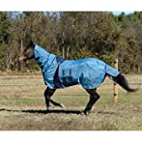 Lami-Cell Full-Cover Pro-Fit Fly Sheet with Fly Mask for Horses, Size 78, Blue Heaven/Dark Grey