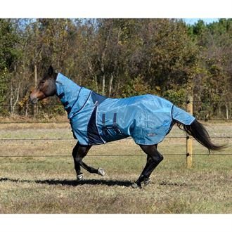 Lami-Cell Full-Cover Pro-Fit Fly Sheet with Fly Mask for Horses, Size 78, Blue Heaven/Dark Grey ()