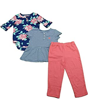 Toddler Size 24 Months 3-Pc Legging, Bodysuit, & Dress Set Coral/Floral