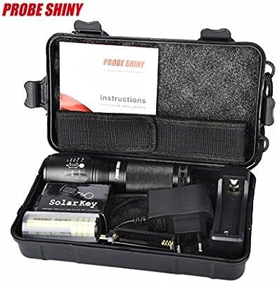 OverDose X800 Zoomable XML T6 LED Policía Táctica Linterna + 18650 Batería + Cargador + Estuche (Negro)