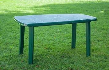 Table de jardin SORENTO, plastique, 140 x 80, vert foncé: Amazon.fr ...