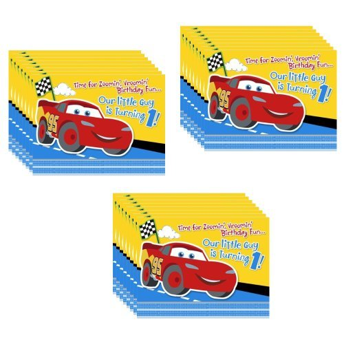 Disney Cars 1st Birthday Champ Party Invitations - 24 Pieces ()