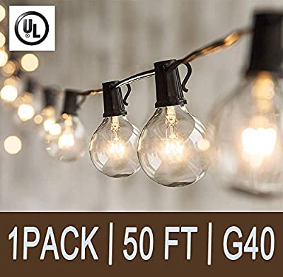 Afirst Outdoor String Lights 50 Ft Patio String Lights with 50 Clear Glass Bulbs UL Listed Incandescent String Lights Garden/Backyard Party/Wedding Indoor String Lights-Black Cord